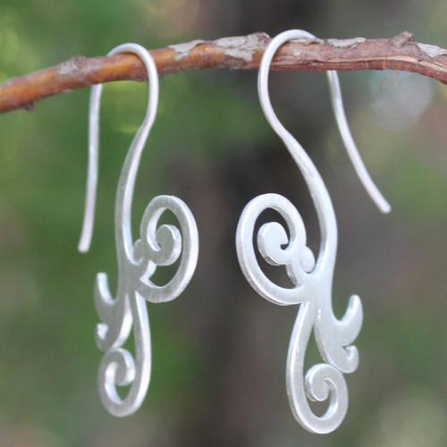 Modern Sterling Silver Drop Earrings 'Enamored'