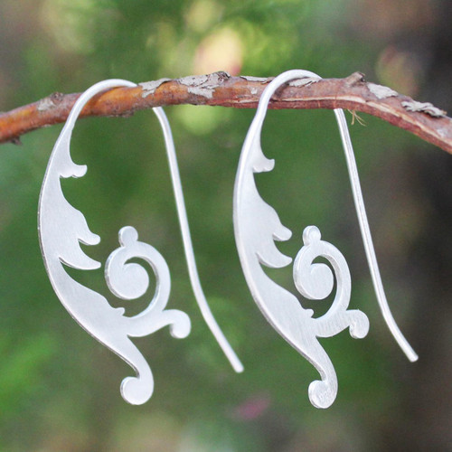 Handcrafted Sterling Silver Drop Earrings 'Empress'