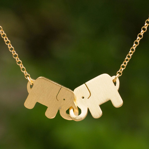 Gold Plated Pendant Necklace 'Elephant Friendship'