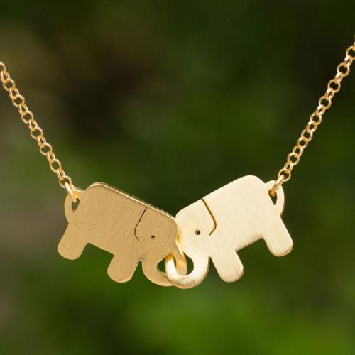 Gold Plated Pendant Necklace 'Elephant Friendship'