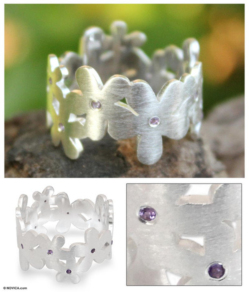 Unique Floral Amethyst and Sterling Silver Band Ring 'Mystical Frangipani'
