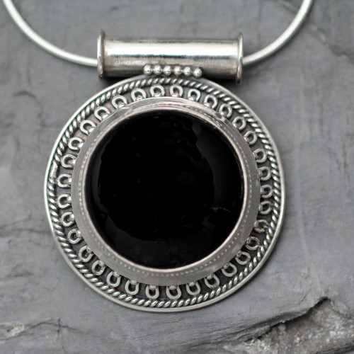 Handcrafted Onyx and Silver Pendant Necklace 'Moon over Delhi'
