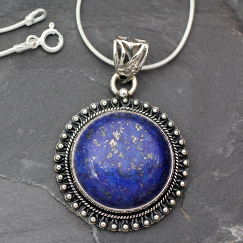 India Jewelry Sterling Silver and Lapis Lazuli Necklace 'Sky Over Varkala'