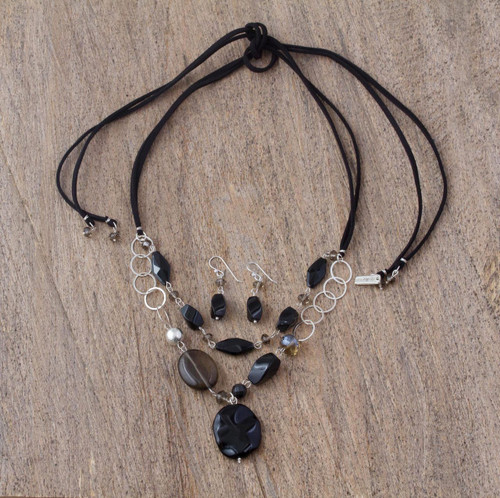 Women's Silver Onyx and Agate Jewelry Set 'Guanajuato Night'