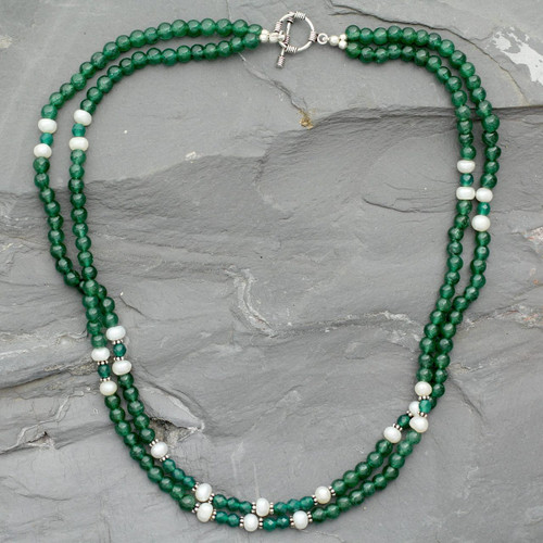 Aventurine and pearl strand necklace 'Indian Meadows'