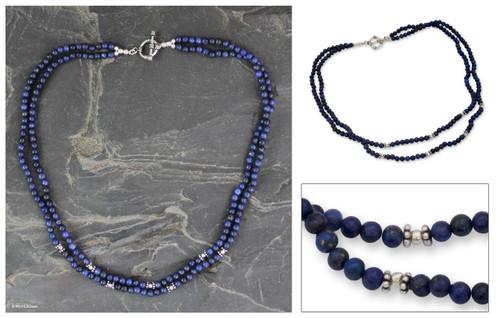 Lapis lazuli strand necklace 'Agra Azure'