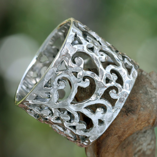 Handmade Floral Sterling Silver Band Ring 'Exotic Bali'