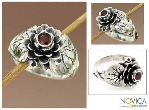 Garnet and Sterling Silver Flower Ring 'Lotus Purity'