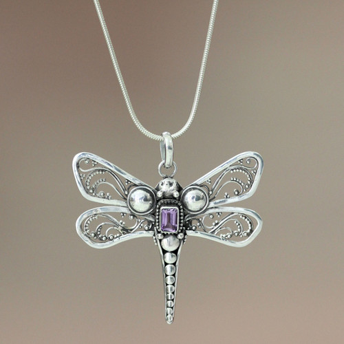 Amethyst and Sterling Silver Necklace 'Lavender Dragonfly'