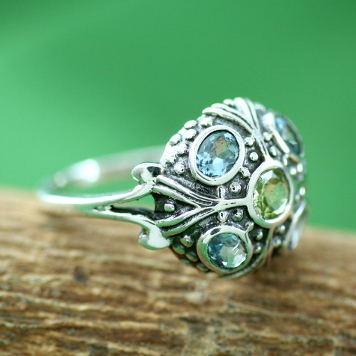 Blue Topaz and Peridot Indian Sterling Silver Ring 'Enthralling Jaipur'