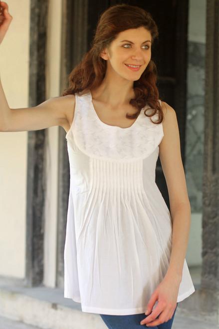 Fair Trade Paisley Cotton Sleeveless Blouse Top 'Glorious Paisley'