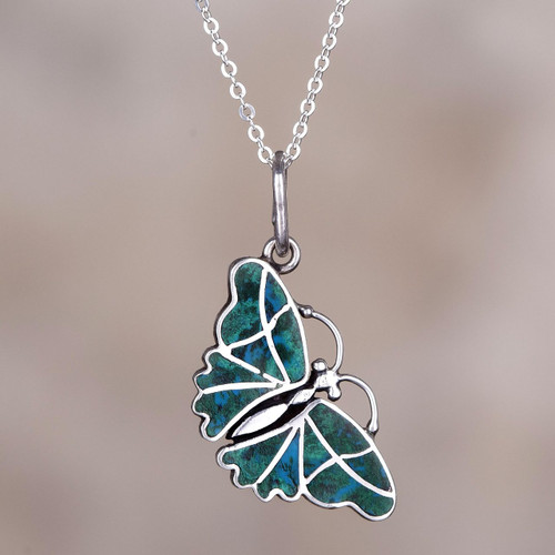 Fair Trade Chrysocolla and Silver Butterfly Pendant Necklace 'Cajamarca Butterfly'