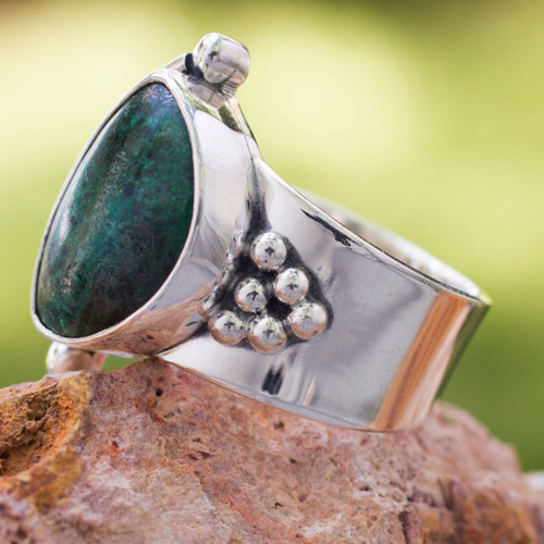 Hand Made Taxco Fine Silver Chrysocolla Cocktail Ring 'Taxco Mystique'