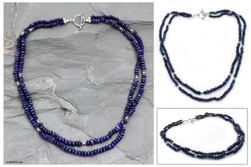 Lapis lazuli strand necklace 'Rajasthan Sky'
