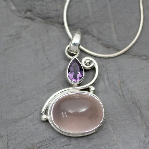 Amethyst and Rose Quartz Pendant Necklace 'Mumbai Dawn'