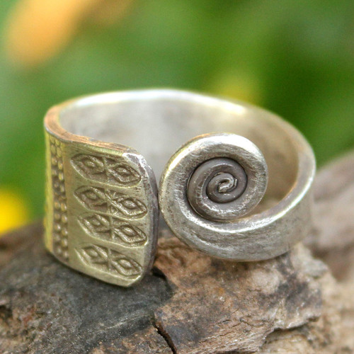 Hill Tribe Sterling Silver Wrap Ring 'Thai Sunbeams'