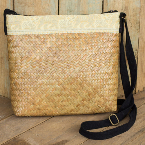 Beige Natural Fiber Shoulder Bag with Cotton Accent 'Siam Elephants'