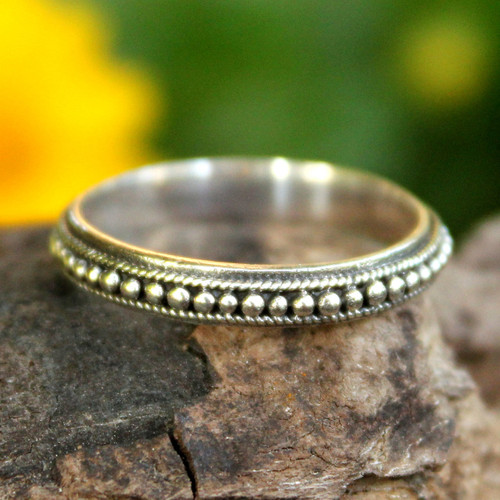 Thai Sterling Silver Bead Design Band Ring 'Circle of Stars'