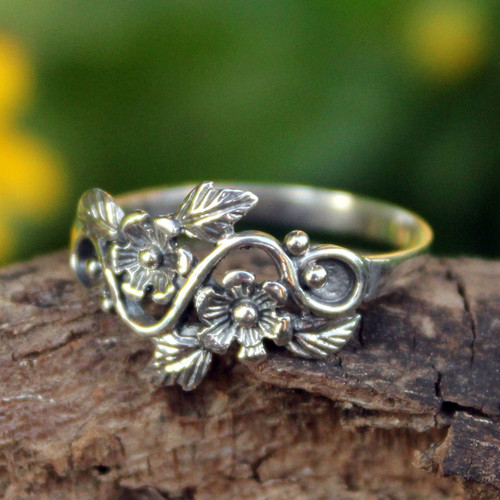 Flower and Leaf Sterling Silver Band Ring from Thailand 'Siam Bouquet'