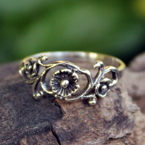 Floral Sterling Silver Band Ring from Thailand 'Lotus Rose'
