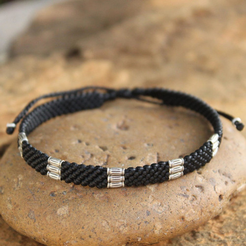 Silver Braided Bracelet 'Hill Tribe Rice'