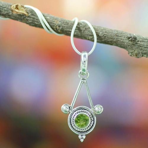 Sterling Silver and Peridot Necklace Modern Indian Jewelry  'Chennai Promise'