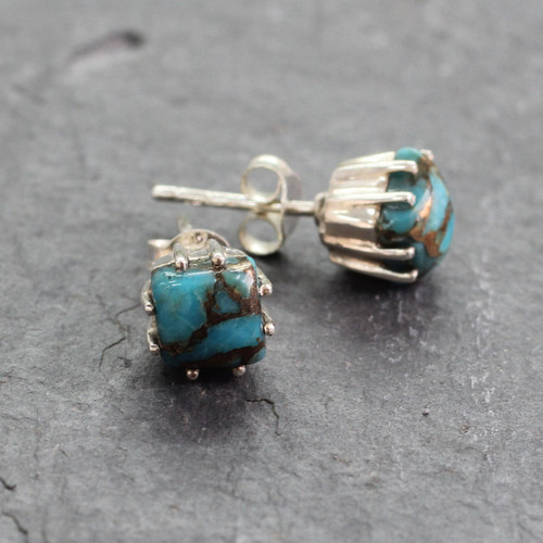 Sterling Silver Stud Earrings with Composite Turquoise 'Ocean Sky'