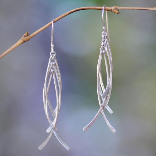 Handmade Sterling Silver Dangle Earrings 'Winter Twigs'