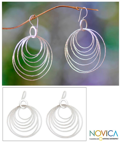Modern Sterling Silver Dangle Earrings 'Seven Orbits'
