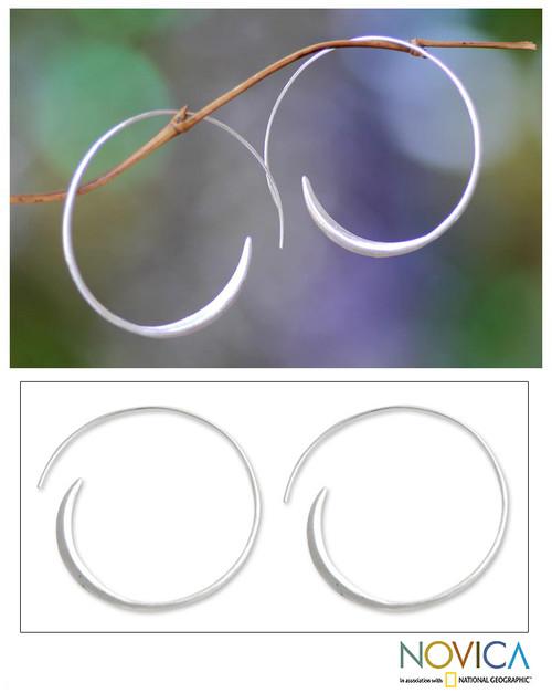 Fair Trade Sterling Silver Hoop Earrings (Medium) 'Spin Me'