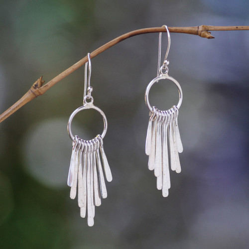 Handmade Indonesian Sterling Silver Waterfall Earrings 'Feather Cascade'