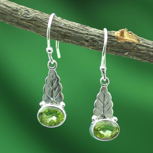 Peridot and Sterling Silver Artisan Crafted Earrings 'Green Leaves'