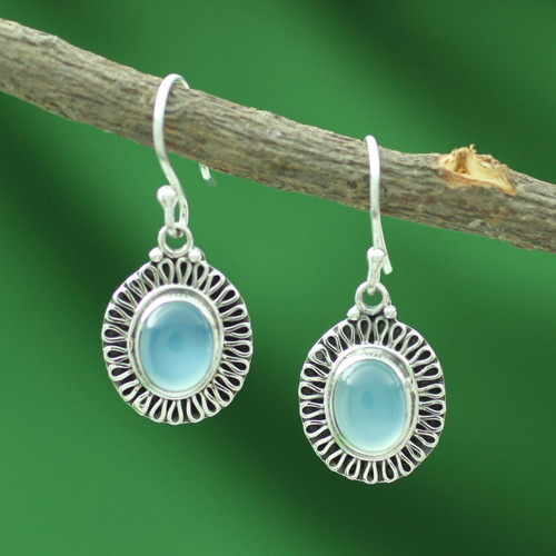 Sterling Silver and Chalcedony Earrings Artisan Jewelry 'Blue Fortune Sun'