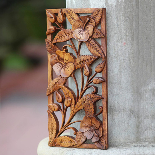 Artisan Crafted Floral Wood Relief Panel 'Sweet Balinese Hibiscus'