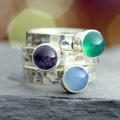 Amethyst stacking rings (Set of 3) 'Inspirational'