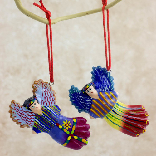 Handcrafted Angel Ceramic Ornaments (Set of 6) 'Wishing Angels'