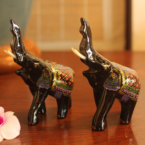Lacquered Wood Figurines (Pair) 'Happy Elephants'