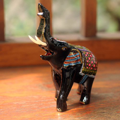 Artisan Crafted Wood Elephant Sculpture 'Happy Elephant'