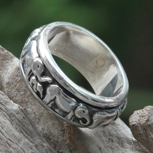 Handcrafted Silver Spinner Meditation Ring 'Lucky Elephants'