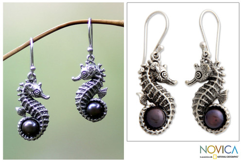 Indonesian Sterling Silver and Pearl Dangle Earrings 'Sea Horse Legend'