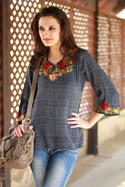 Silk Tunic Grey and Embroidered Apparel India 'Scarlet Lotus'