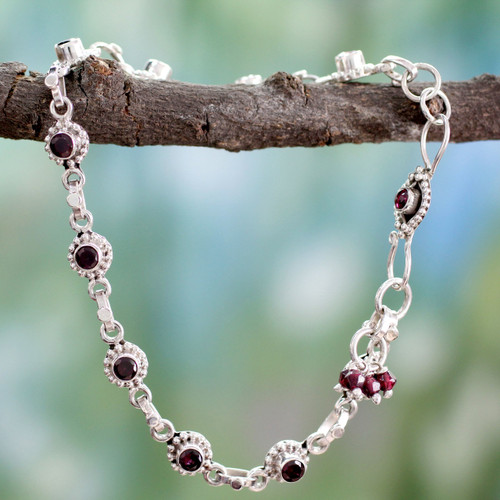 Indian Ankle Jewelry with Garnet and Sterling Silver 'Scarlet Sun Blossoms'