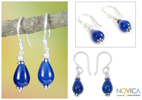 Sterling silver dangle earrings 'Blue Dewdrop'