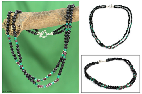 Garnet and onyx beaded necklace 'Colors of India'