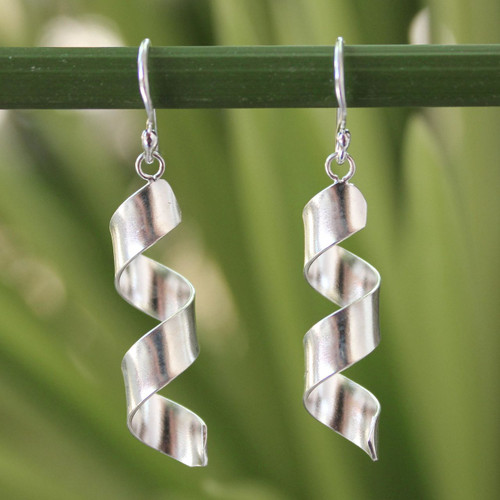 Artisan Crafted Sterling Silver Dangle Earrings 'Mae Ping Breeze'
