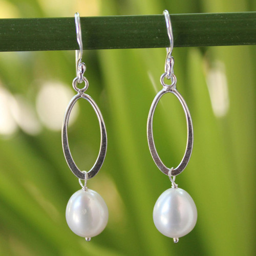Sterling Silver and Pearl Dangle Earrings 'Dragon Love'