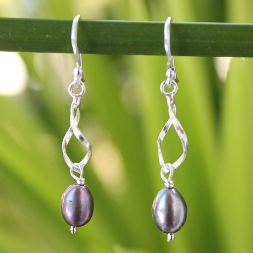 Artisan Crafted Sterling Silver and Pearl Dangle Earrings 'Swirling Love'