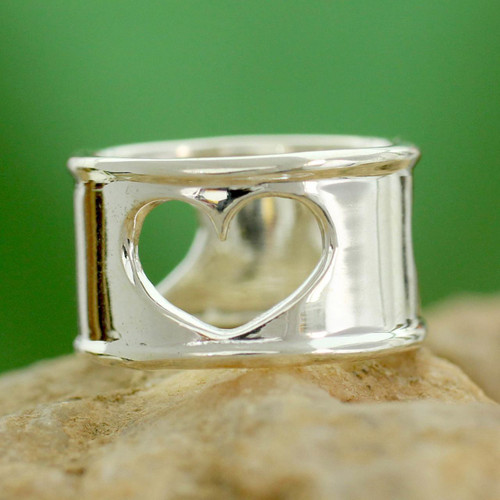 Handcrafted Indian Heart Jewelry Sterling Silver Band Ring 'Threefold Love'