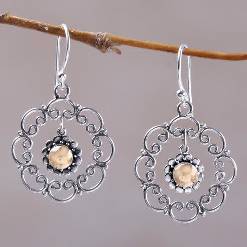 Sterling Silver and 18k Gold Accent Earrings 'Delightful Denpasar'