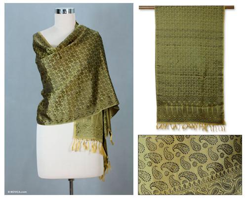 Banarasi silk shawl 'Golden Olive Dusk'